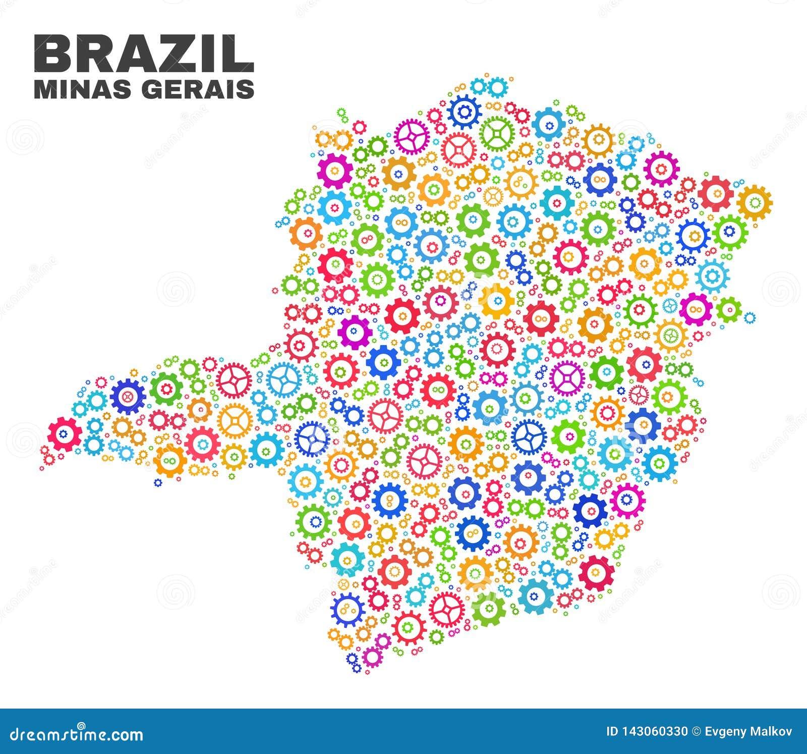 Mosaiska Minas Gerais State Map av kugghjulbeståndsdelar