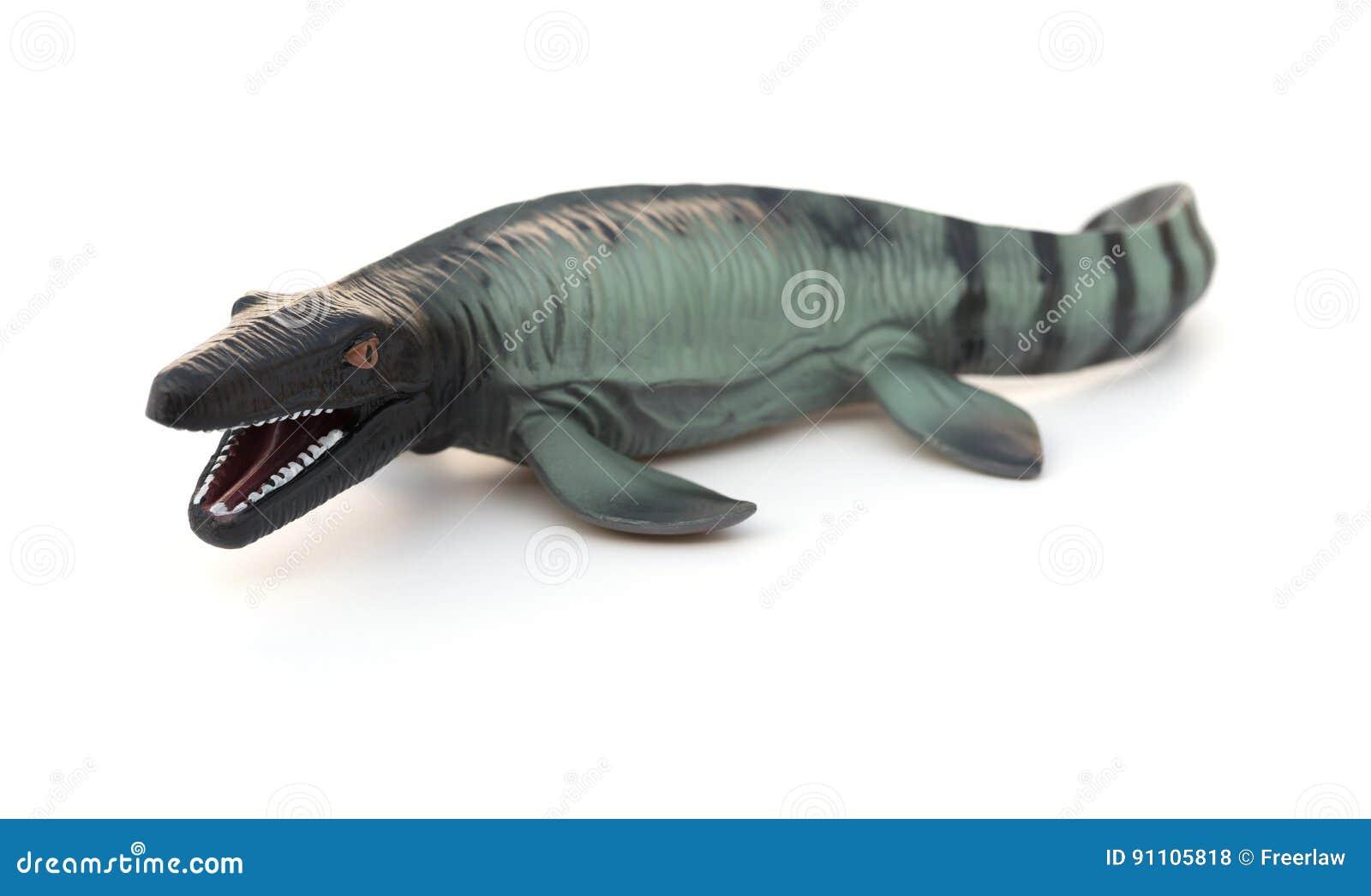Mosasaurus toy on white
