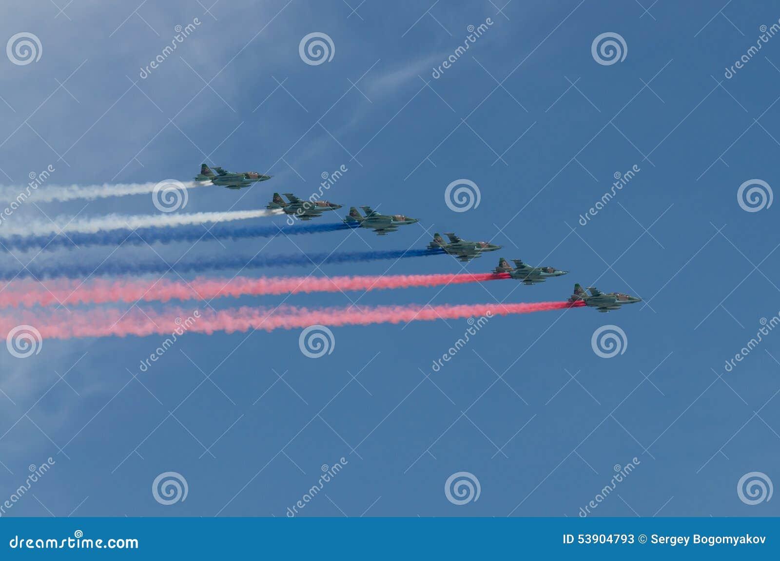 MOSCÚ - 9 DE MAYO: Seis Aviones De Combate SU-25SL Con El Simbol De ...
