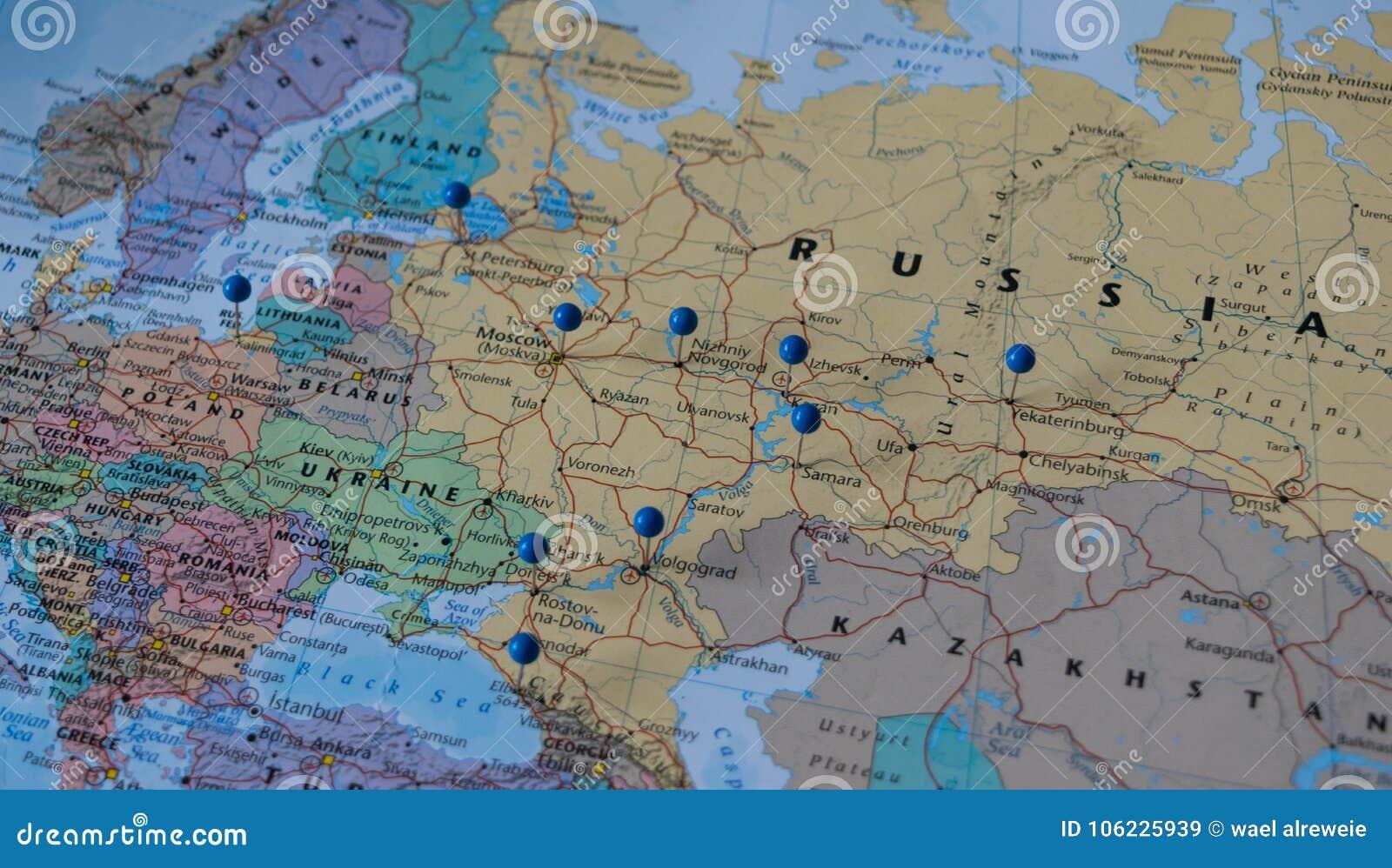 Moscu Fijo Con Otras Ciudades Del Lugar Del Mundial En Un Mapa Del