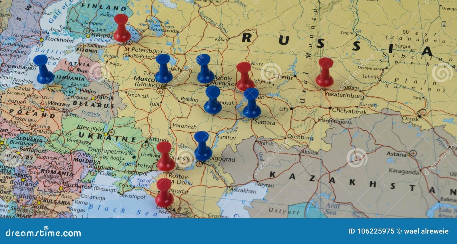 Ciudades De Rusia Mapa.Moscu Fijo Con Otras Ciudades Del Lugar Del Mundial En Un