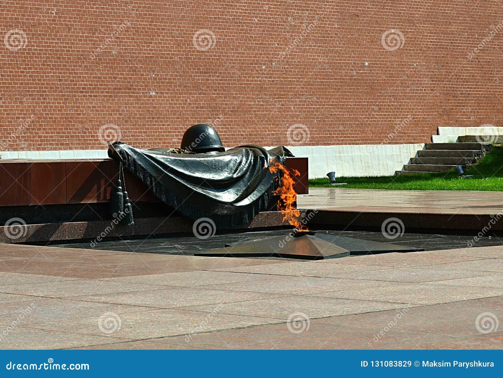 Moscú, Rusia, ciudad, 2018, megalópoli, la Plaza Roja, llama eterna, Alexander Garden, monumento