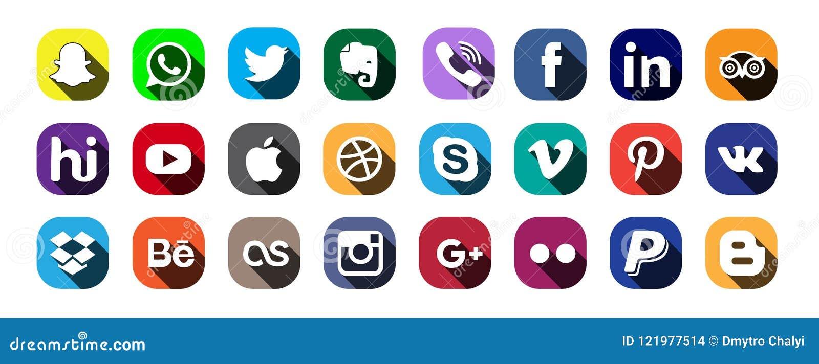 Moscú, Rusia - 20 de junio de 2017: Sistema de medios logotipos sociales populares