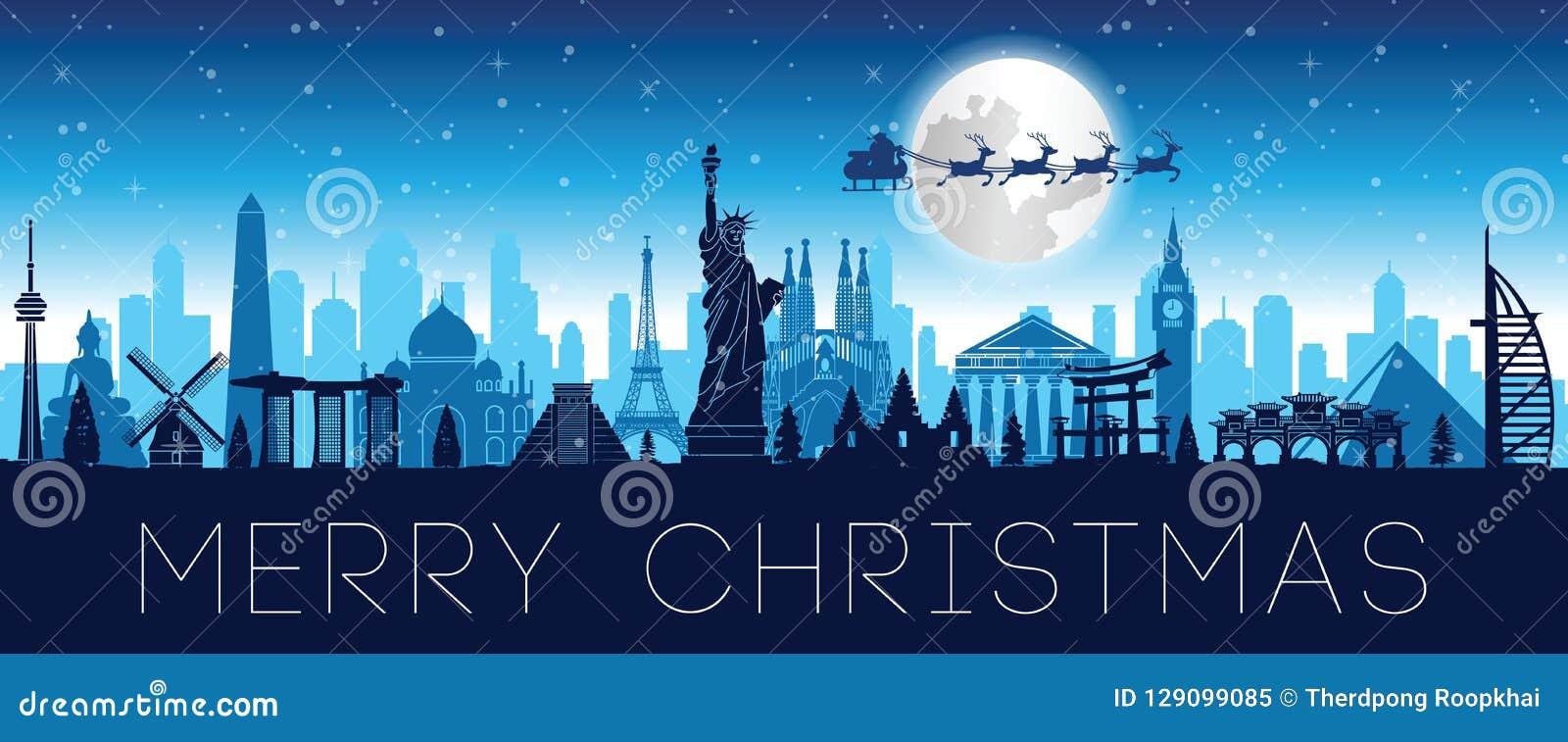 A Rena Mais Famosa Do Papai Noel mosca de papai noel sobre o marco mundialmente famoso para