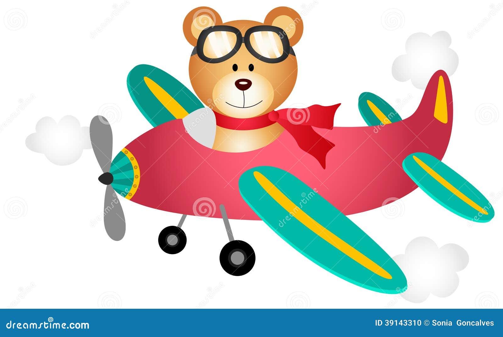Mosca do urso de peluche em um avião