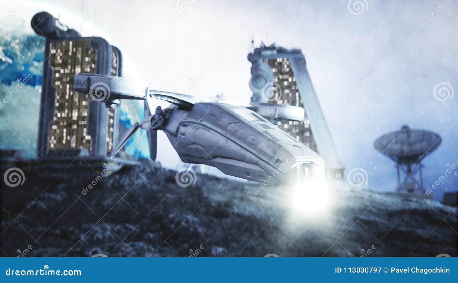 Mosca militar del vehículo espacial en la luna Colonia de la luna Backround de la tierra representación 3d
