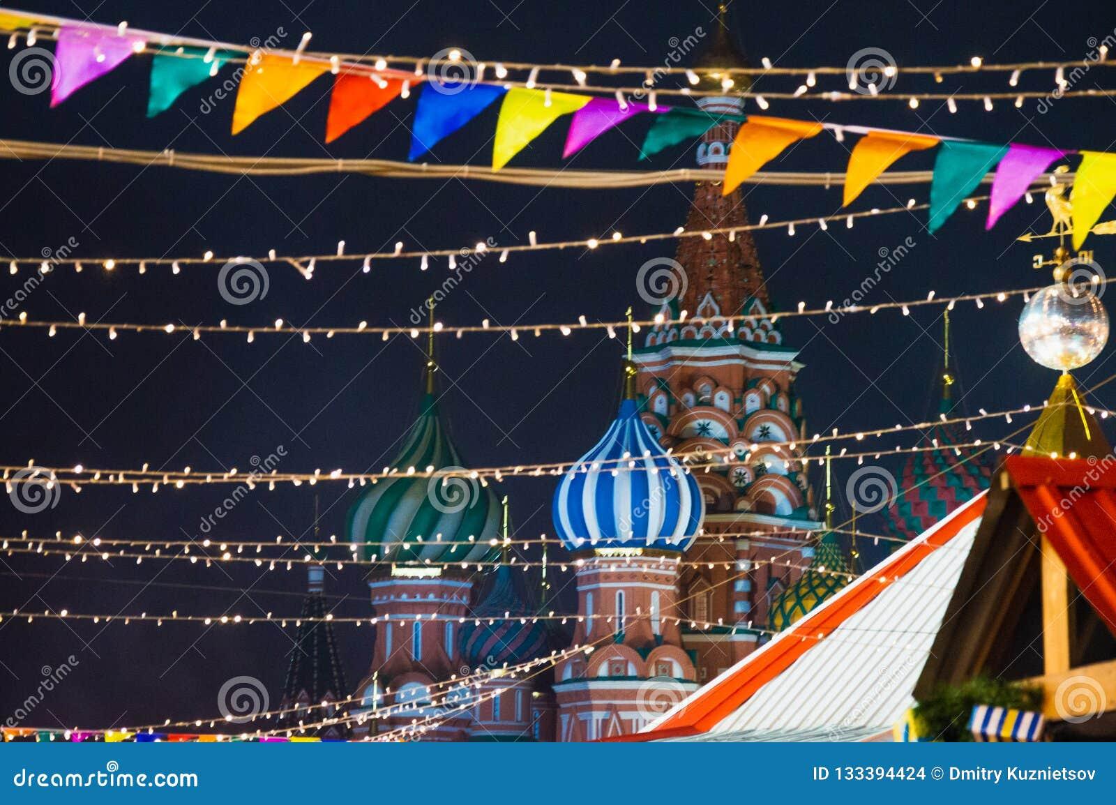 Mosca, Russia, nuovo anno, quadrato rosso, kremlin, natale