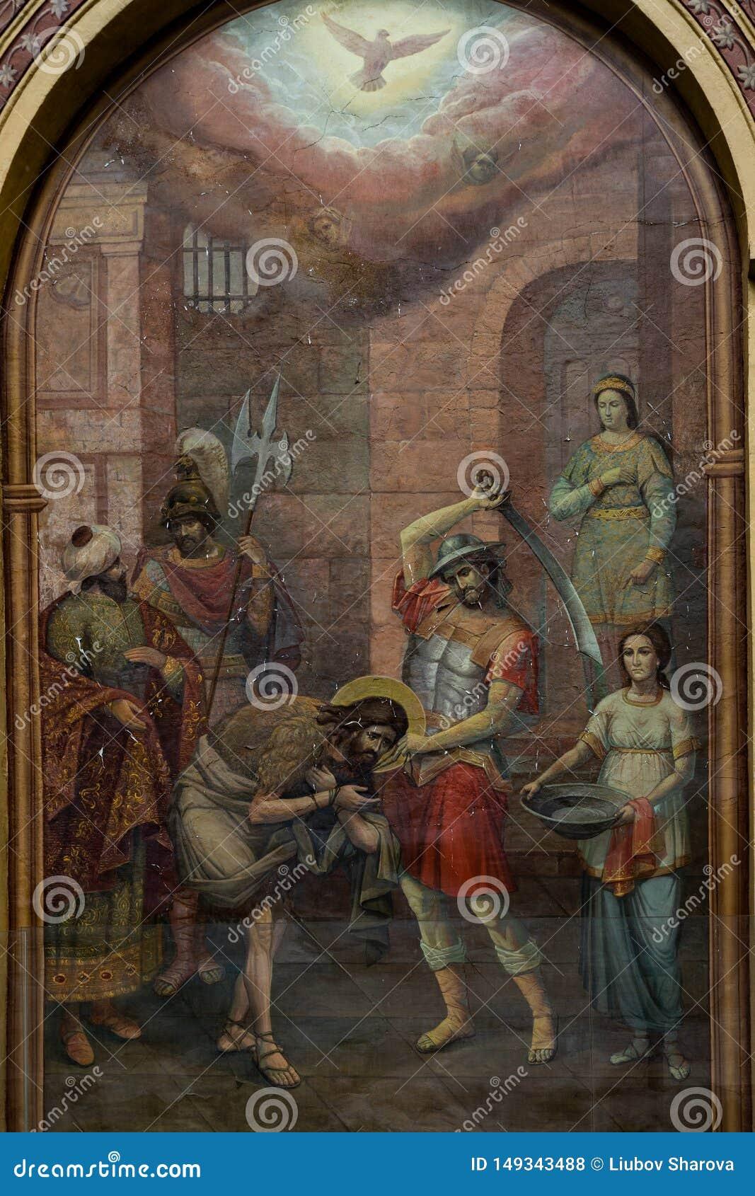 Mosca Russia pu? 25, 2019 affreschi sulla parete di vecchia chiesa russa descrive la decapitazione di San Giovanni Battista