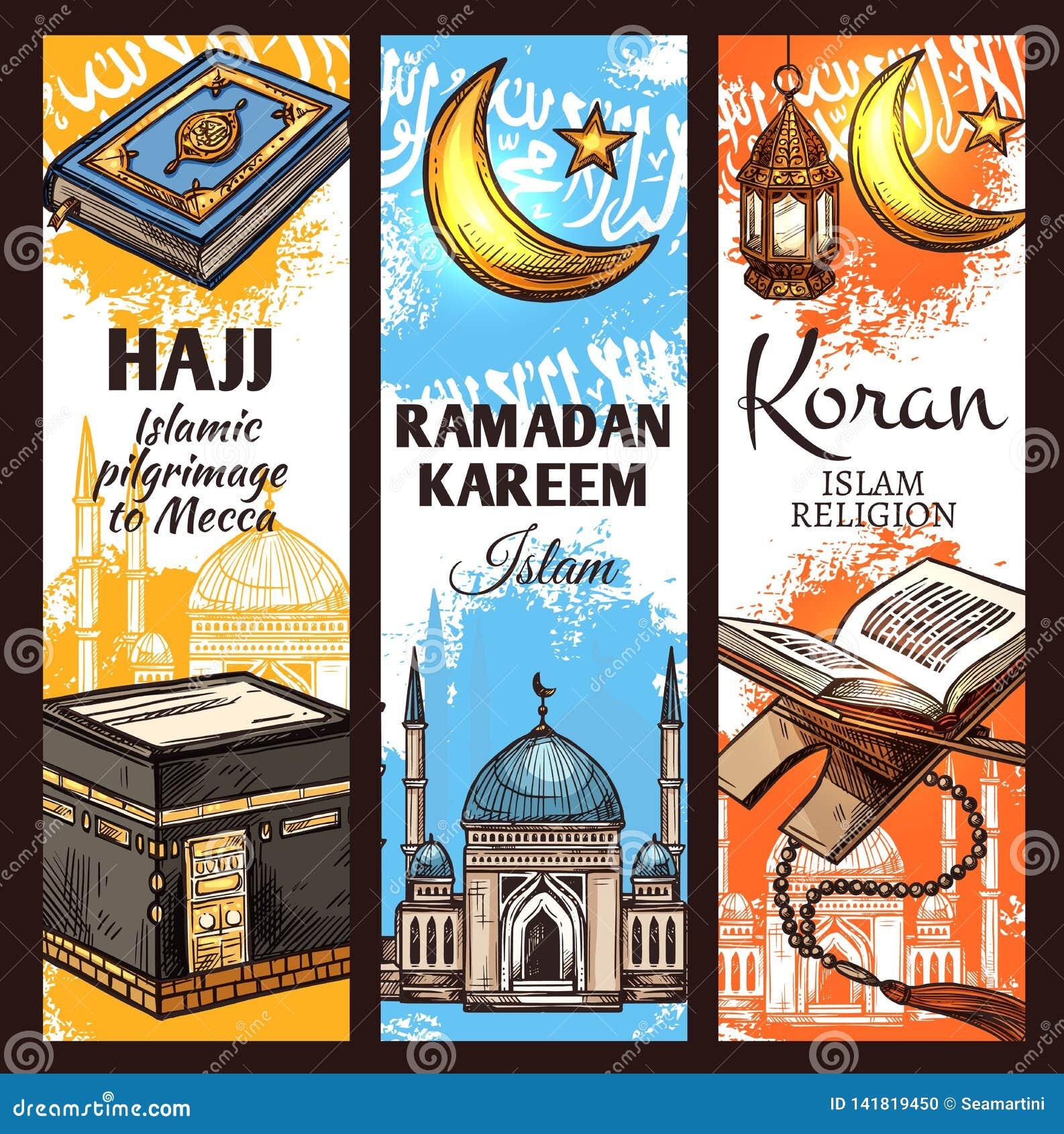 Moschea musulmana, lanterna del Ramadan e Corano islamico