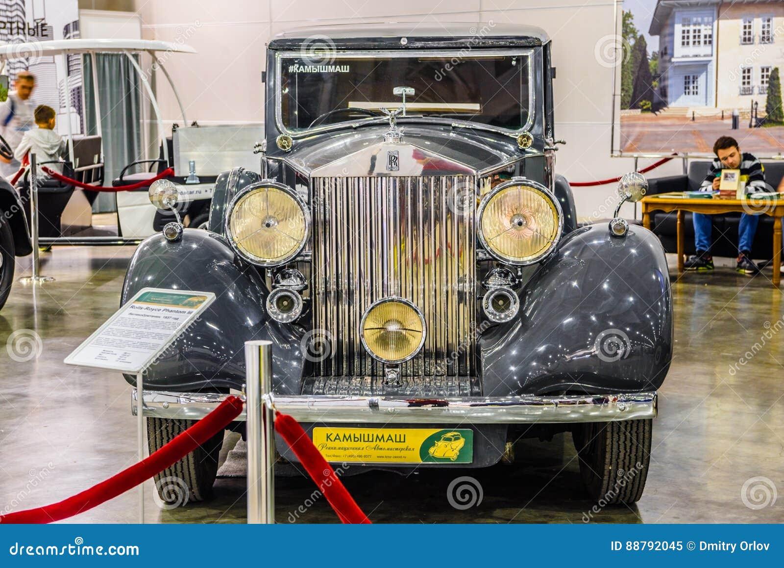 MOSCOU - EM AGOSTO DE 2016: Rolls-Royce Phantom III 1937 apresentou em MIAS Moscow International Automobile Salon o 20 de agosto