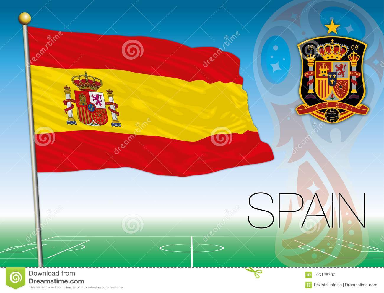 MOSCOU, RÚSSIA, junho-julho de 2018 - Rússia logotipo de 2018 campeonatos do mundo e a bandeira da Espanha