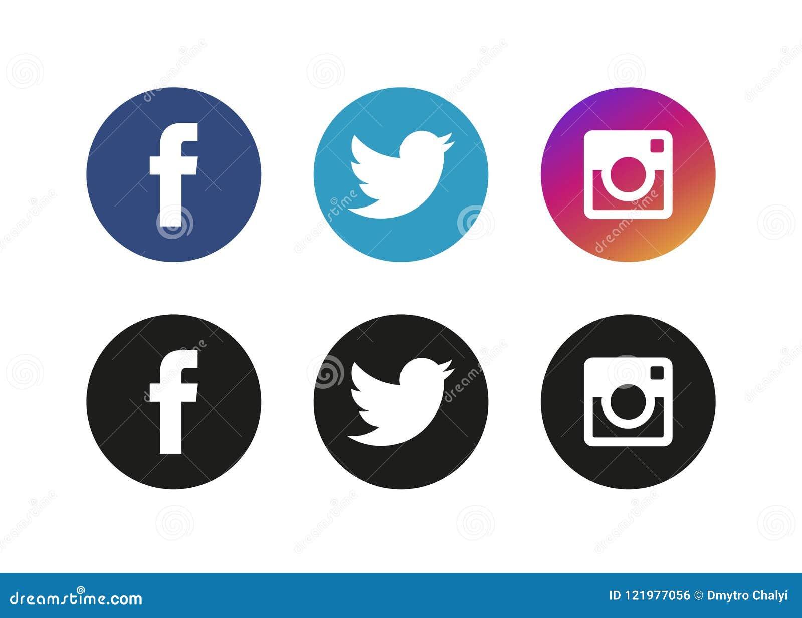 Moscou, Russie - 20 juin 2017 : Ensemble de logos sociaux populaires de media