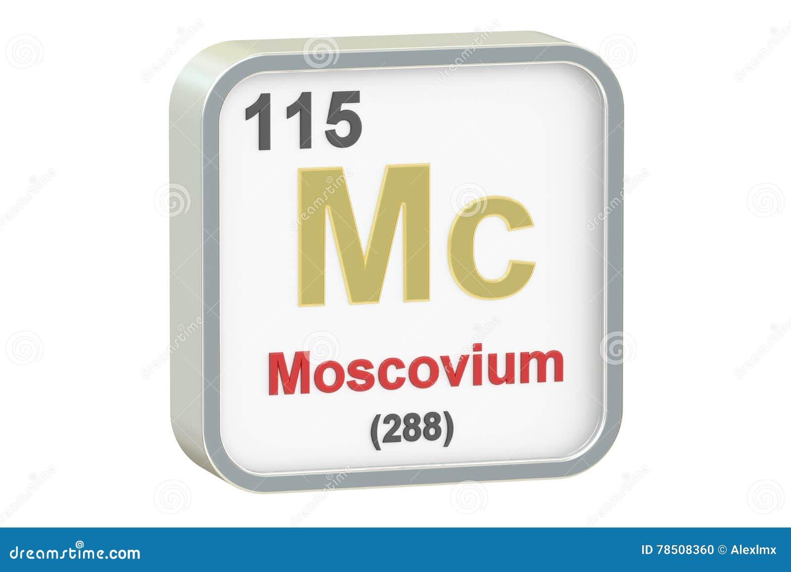 Moscovium chemisch element, het 3D teruggeven
