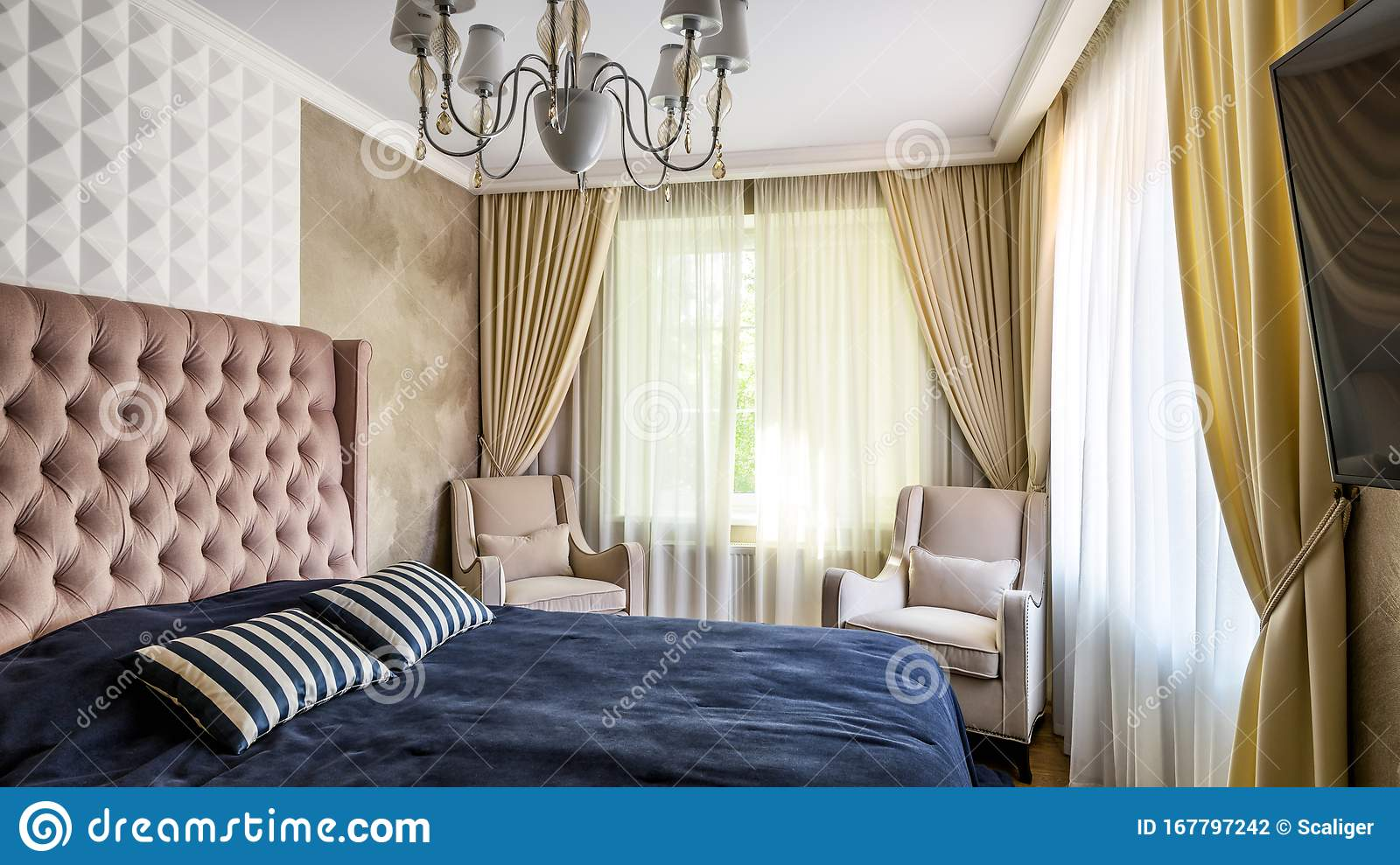 Plain Cozy Bedroom Interior In Pastel Colors Interior Of Hotel Or Home With Bed And Armchairs Editorial Photography Image Of Hotel Cover 167797242