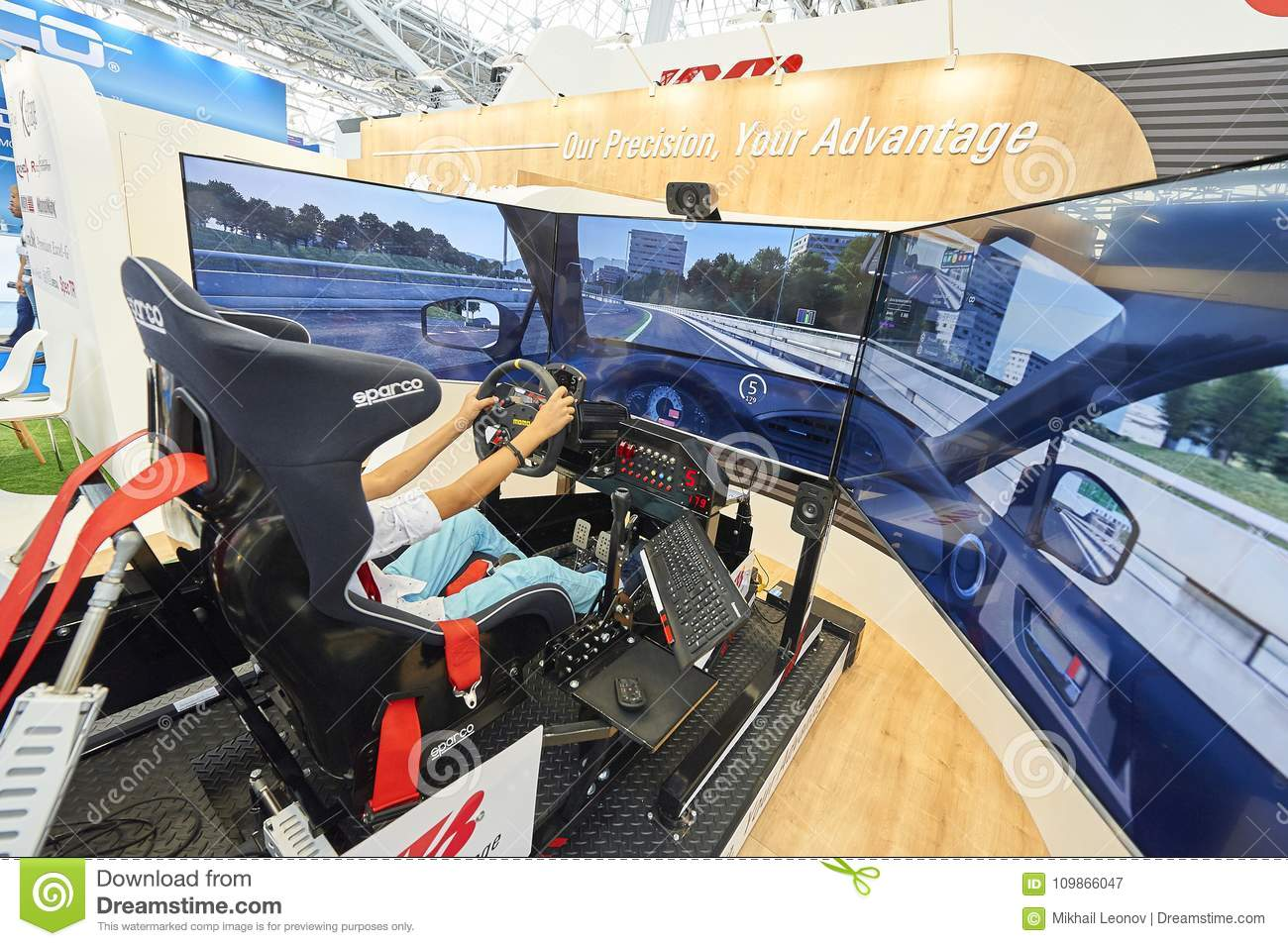 D Exhibition Stand Free Download : Moscow aug. 22 2017: view on exhibition stand with 3d car driving