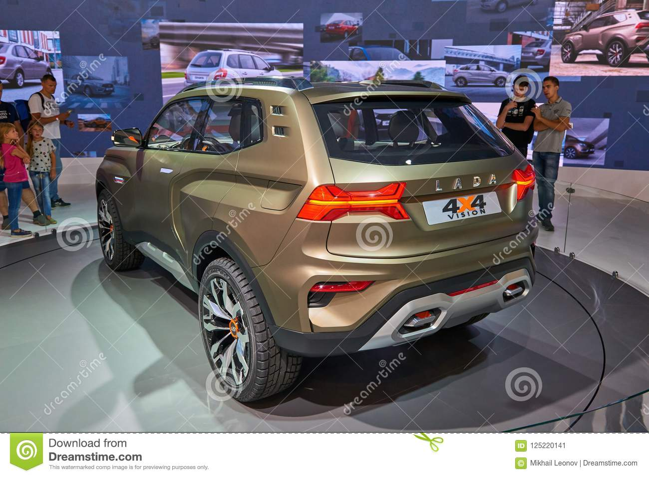 moscow, aug.31, 2018: view on lada stand with new concept off road