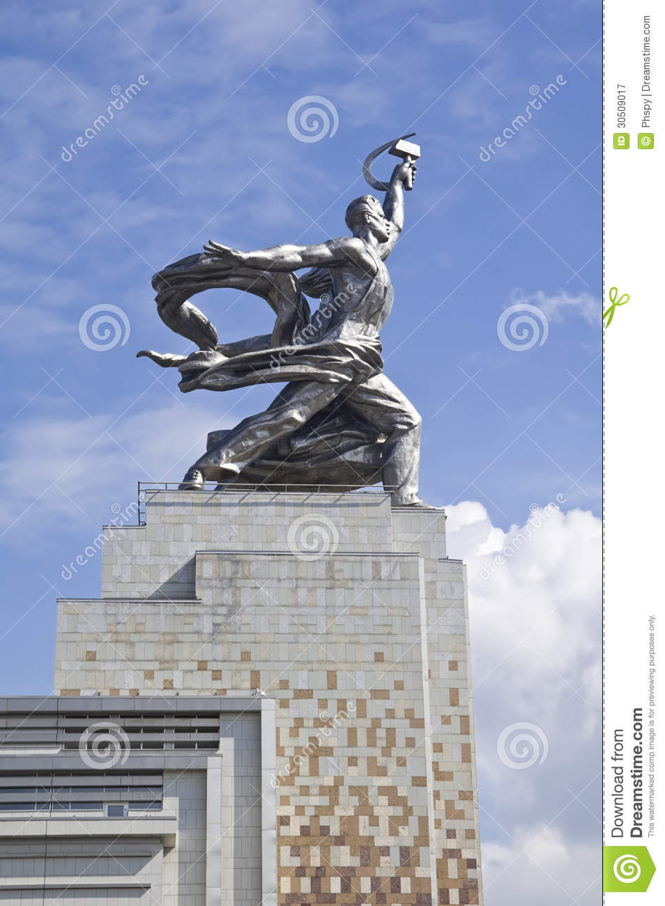 MOSCOW - AUGUST 12: Famous soviet monument Worker and Kolkhoz Woman (Worker and Collective Farmer) of sculptor Vera Mukhina on Au