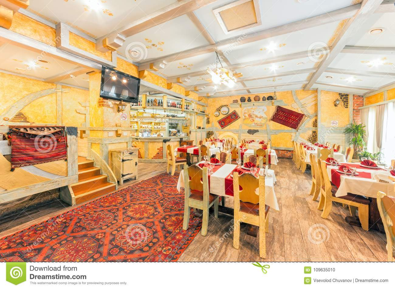 Moscow August 2014 Interior Of The Restaurant Hall Of Yellow Color Decorated In A Farmer S Style Editorial Image Image Of Restaurant Alcoholic 109635010