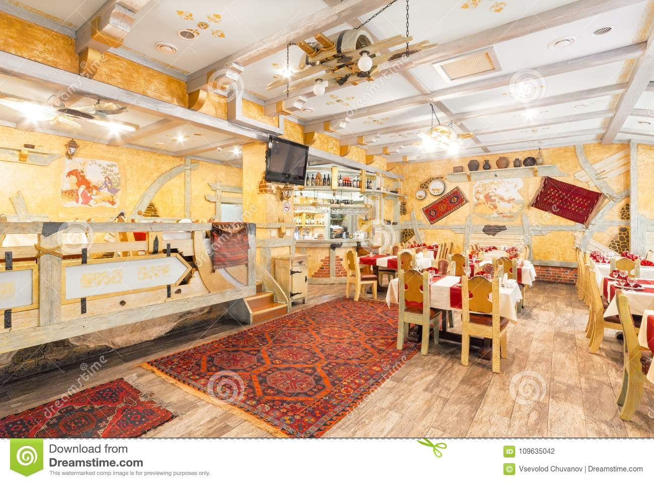 Moscow August 2014 Interior Of The Restaurant Hall Of Yellow Color Decorated In A Farmer S Style Editorial Photography Image Of Hall Editorial 109635042