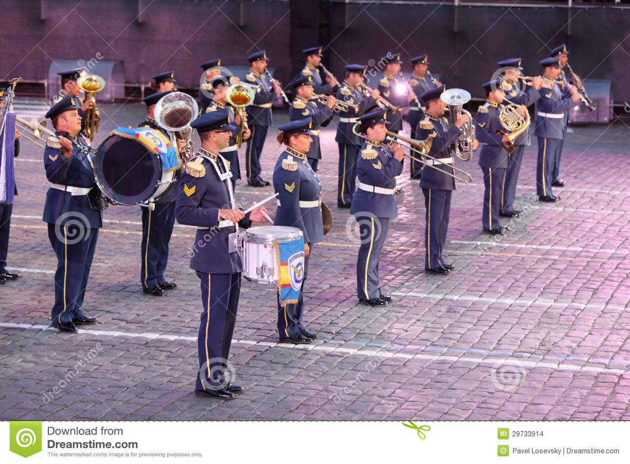 Moscow - august 31: orchestra of air force of greece at military music