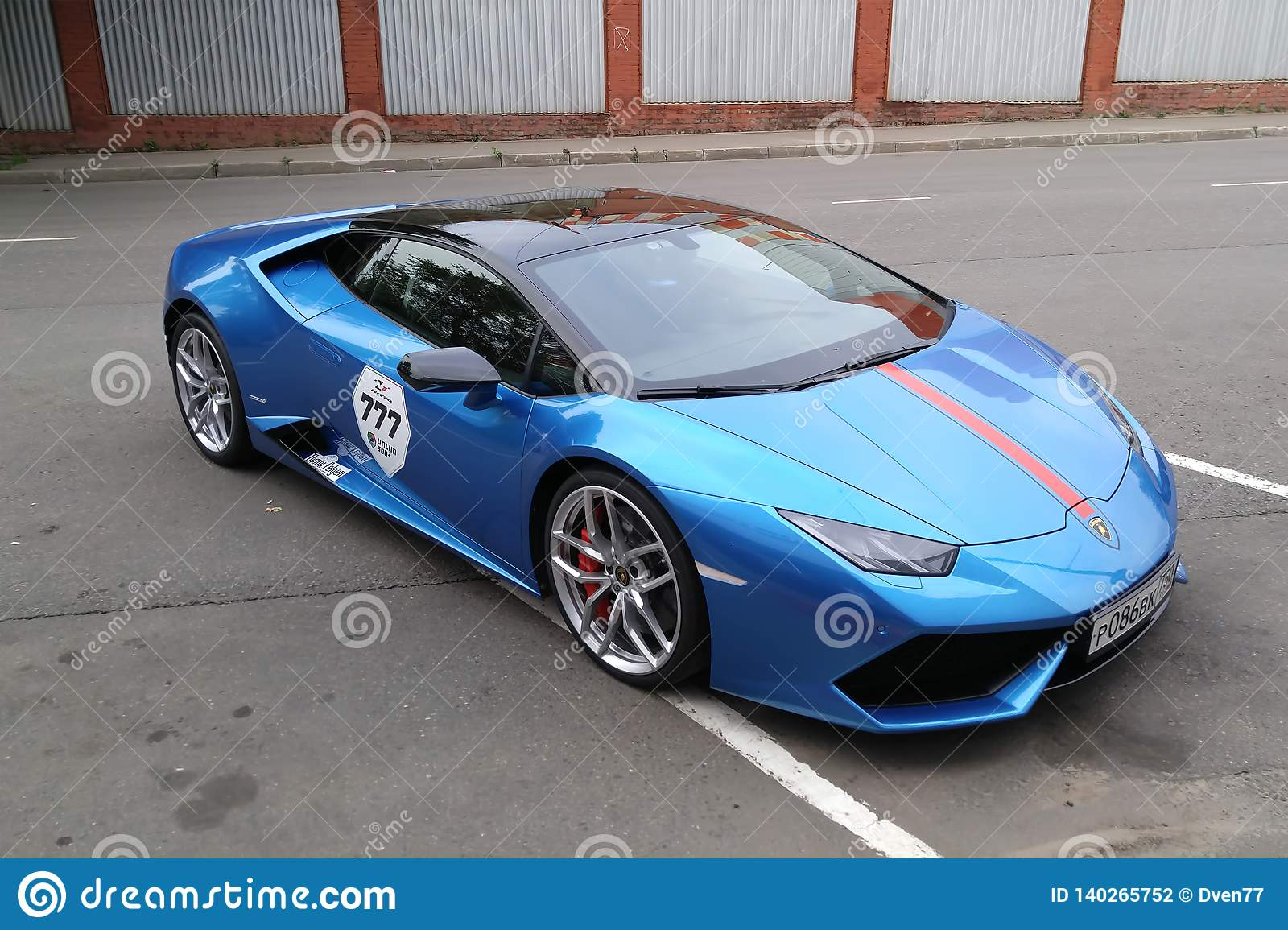 Moscow Autumn 2018 Bright Blue Lamborghini Huracan Parked On The