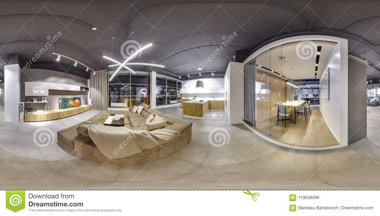 Moscow 2018 beautiful fashionable interior of furniture design store in modern mall with loft