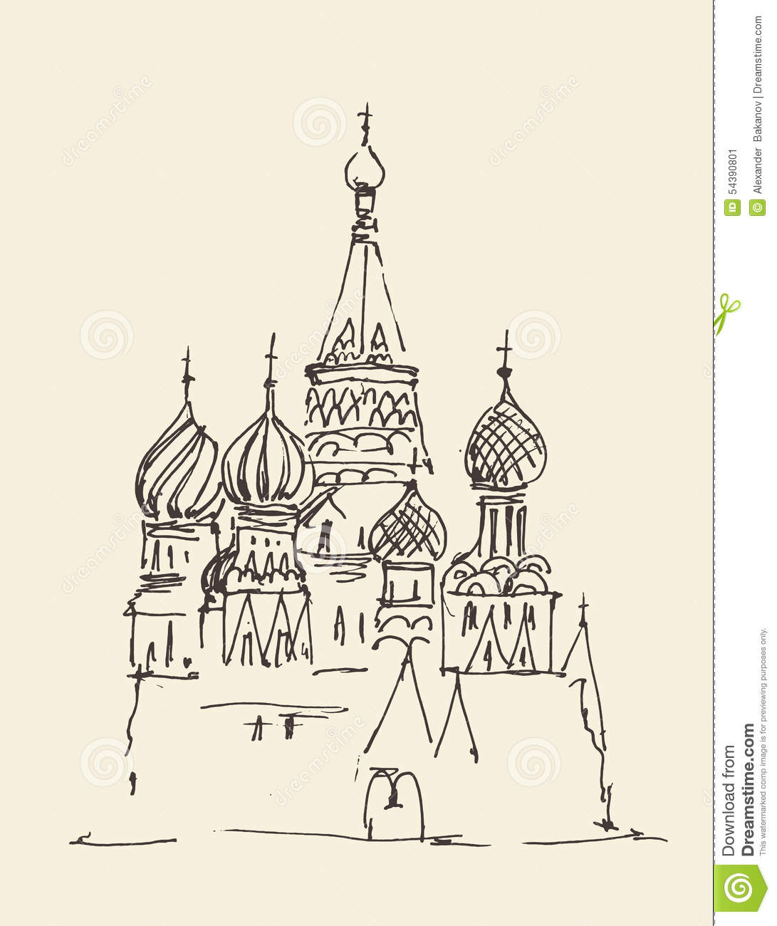 Moscow (Cathedral Of Vasily The Blessed) City Architecture Illustration
