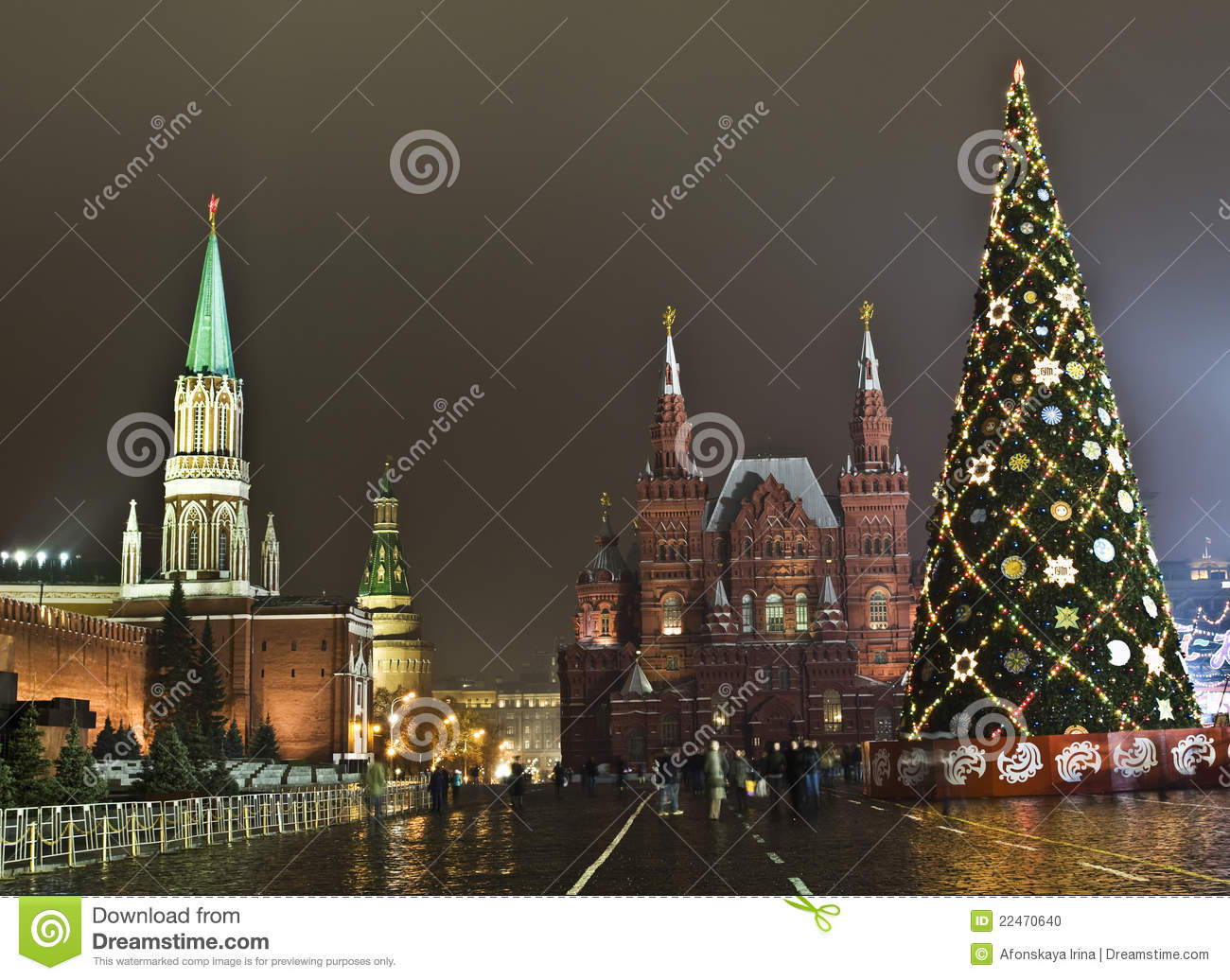 Moscow, Christmas Tree On Red Square Editorial Image