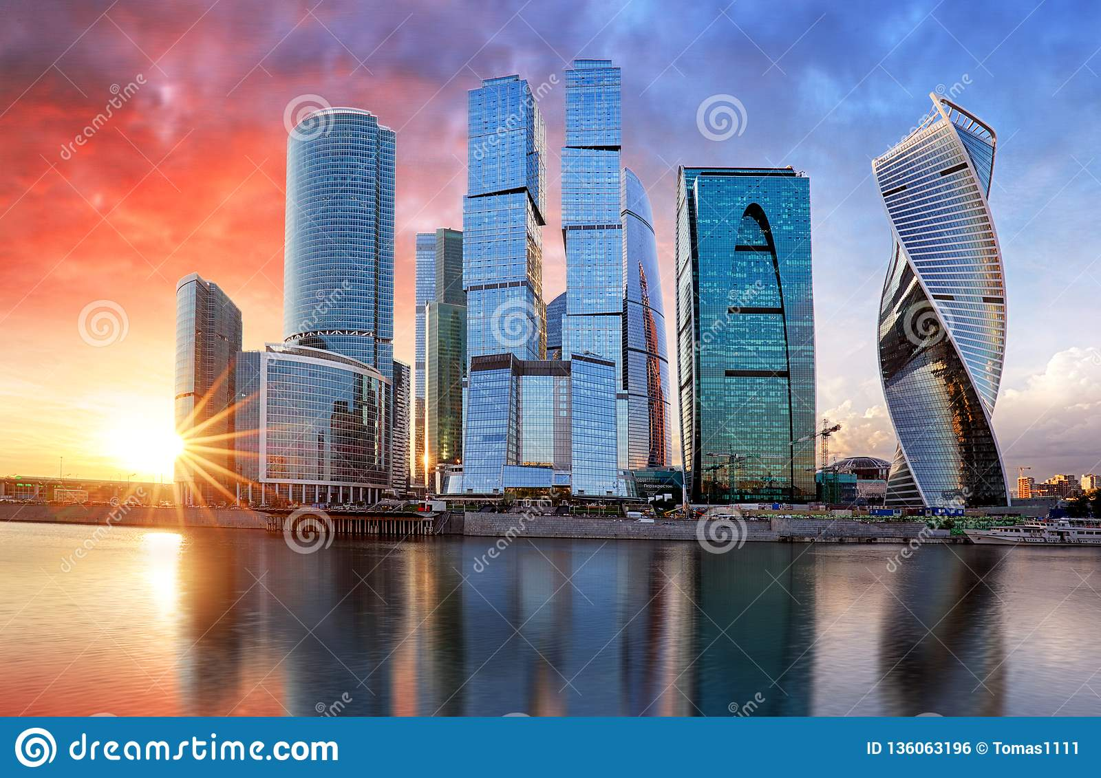 Moscow city, Russia. Moscow International Business Center at sunset