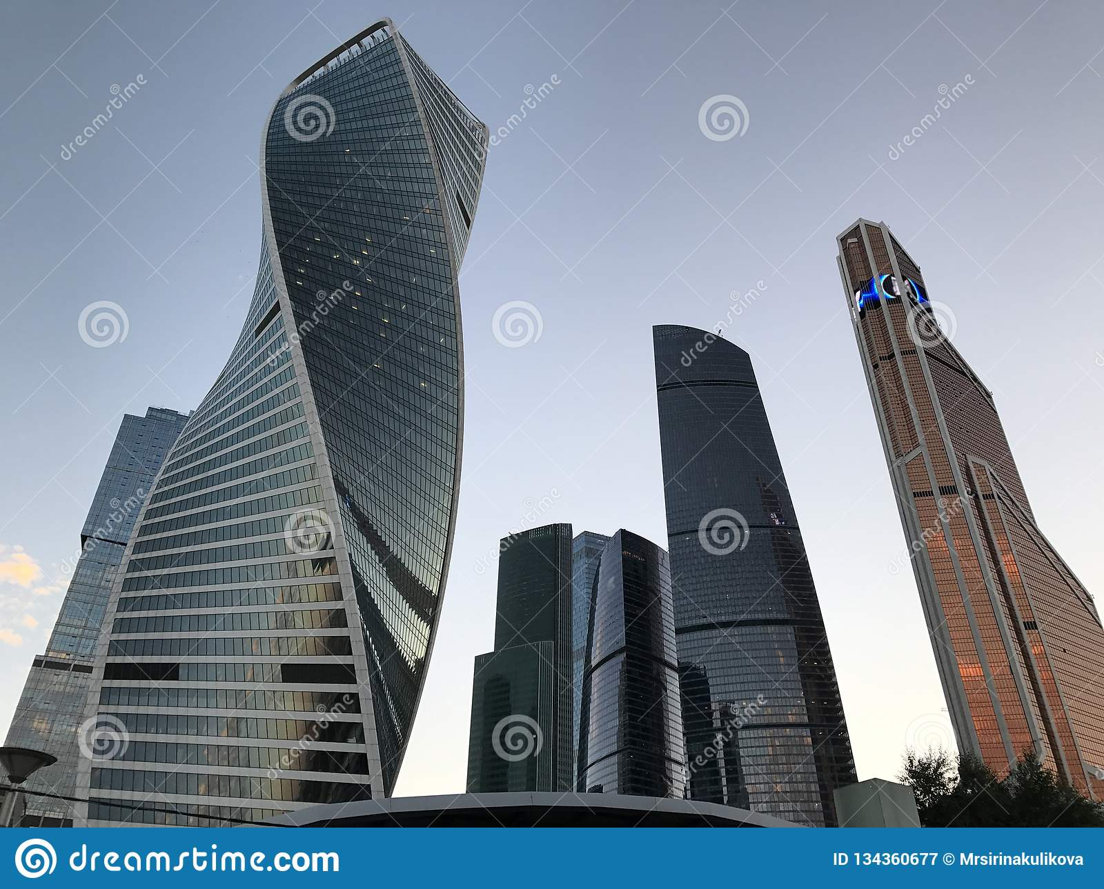 Moscow City - view of skyscrapers Moscow International Business Center. Bottom view