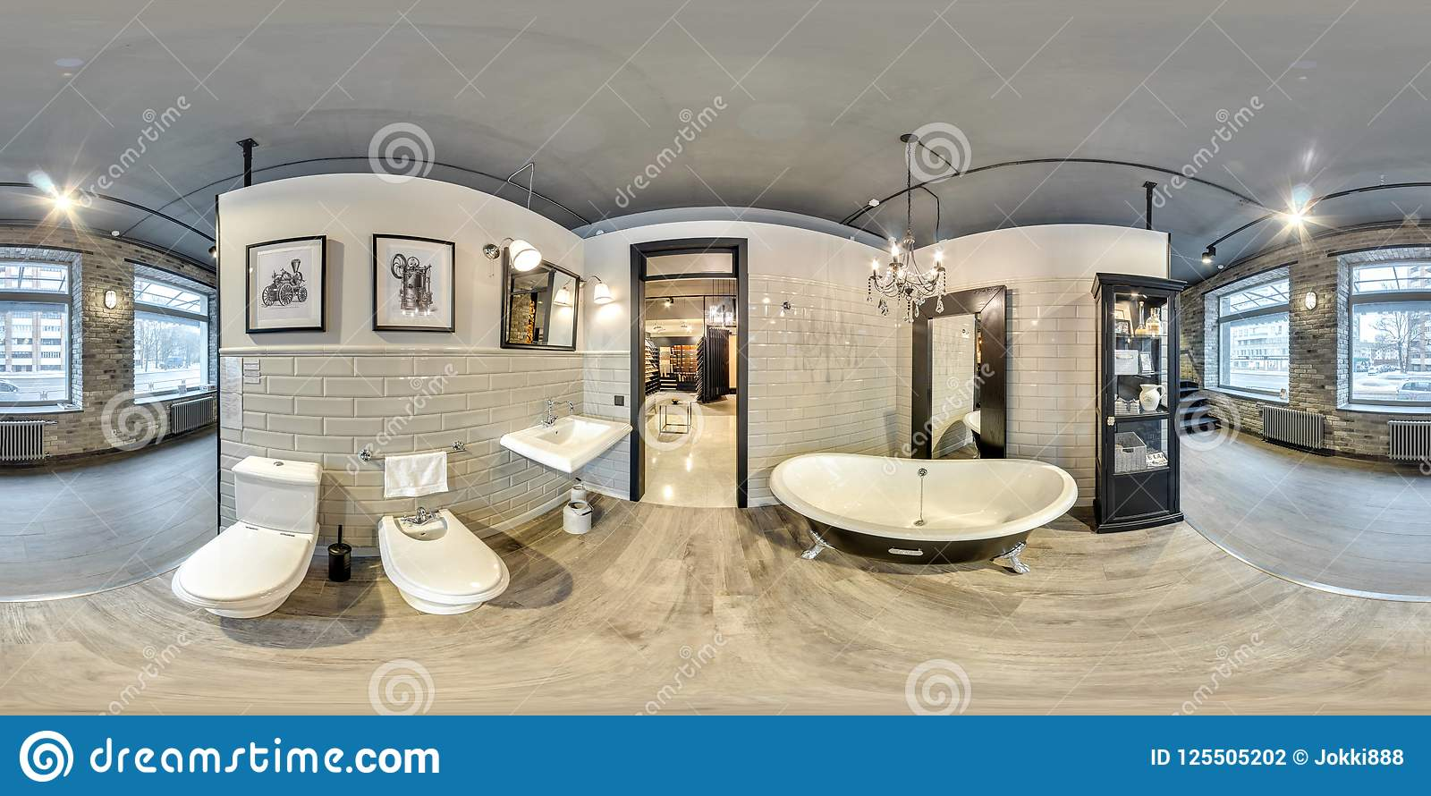 Moscow 2018 3d spherical panorama with 360 degree viewing angle of fashionable interior of furniture design store modern mall loft bathroom