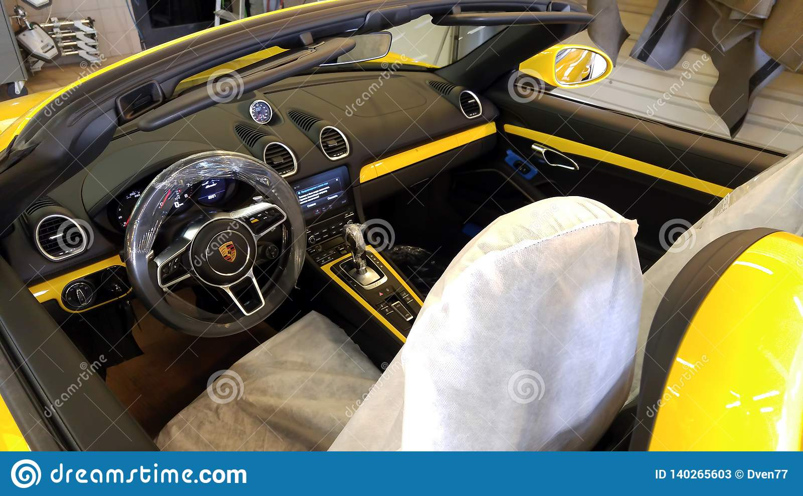 Moscow February 2019 New Yellow Porsche Boxster 718 In Service Station Presale Preparation And Verification Interior Top View Editorial Stock Photo Image Of Boxter Business 140265603