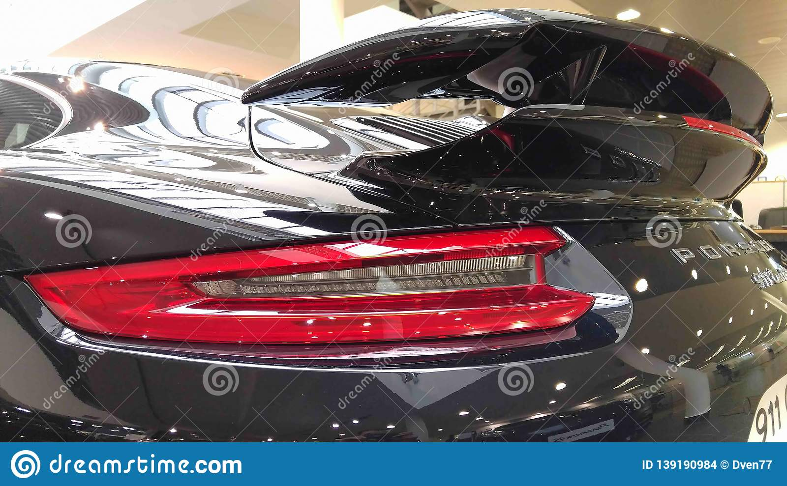 Moscow February 2018 Taillights And Aerodynamic Spoiler Back Of