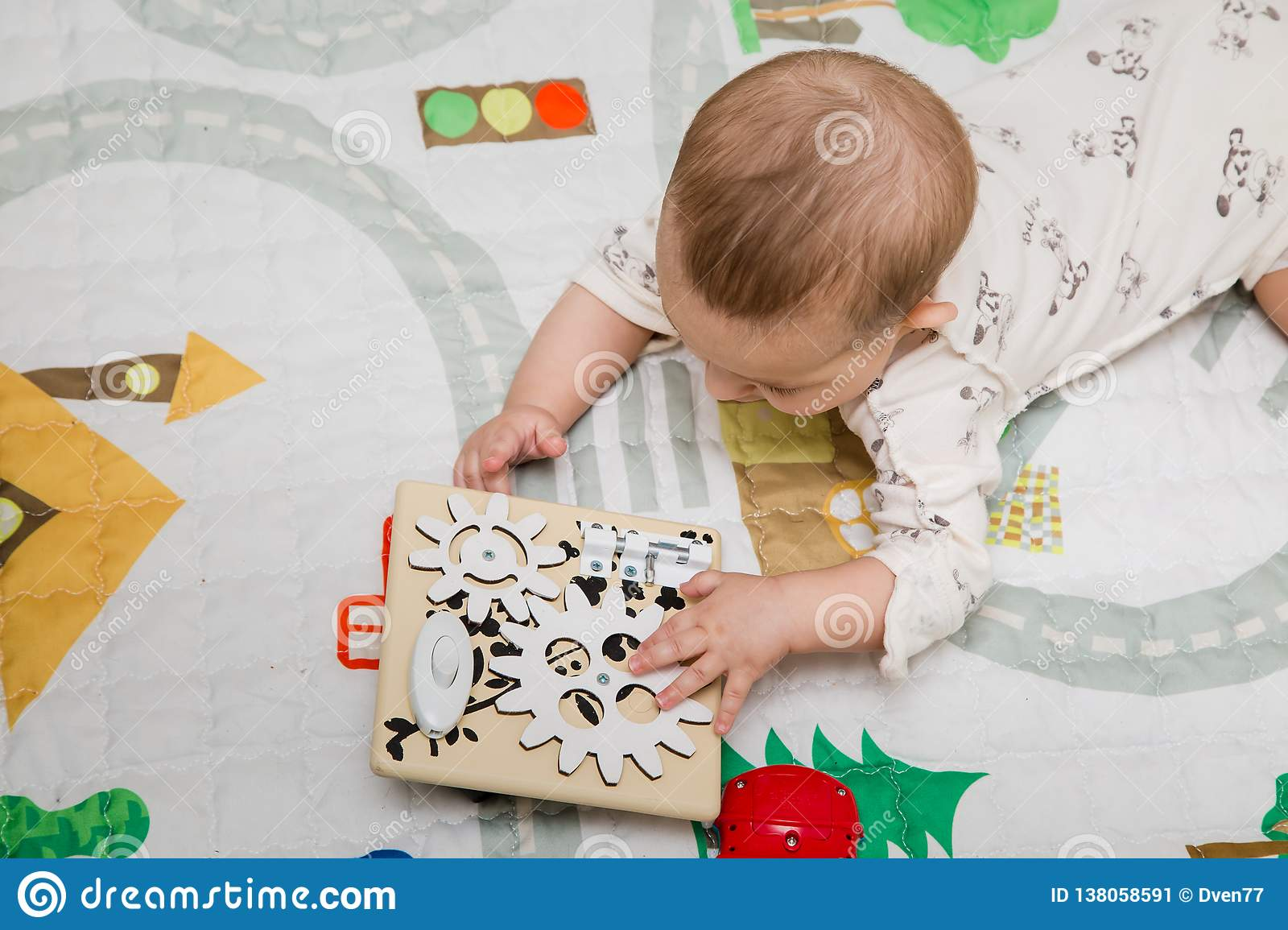 Moscow January 2019 Infant Baby Play With Diy Handmade Busy Board