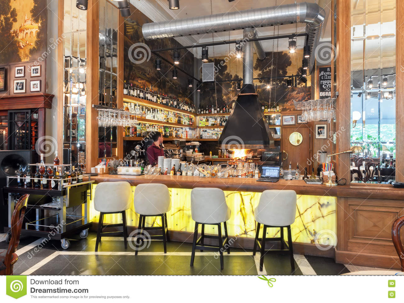 MOSCOW - JULY 2014: Interior Of A Luxury Restaurant In The Art ...