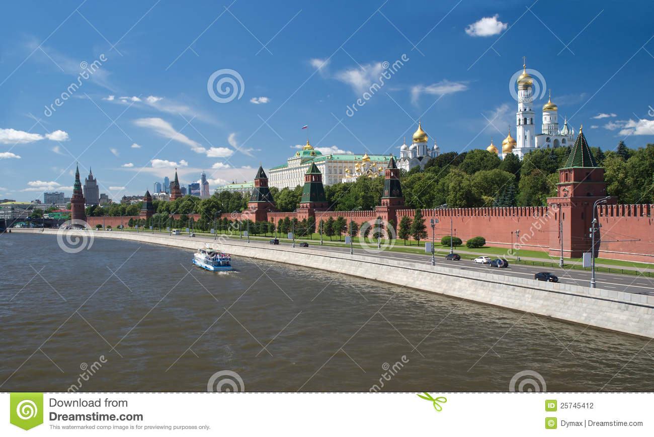 Moscow Kremlin and churches view from Moskva River