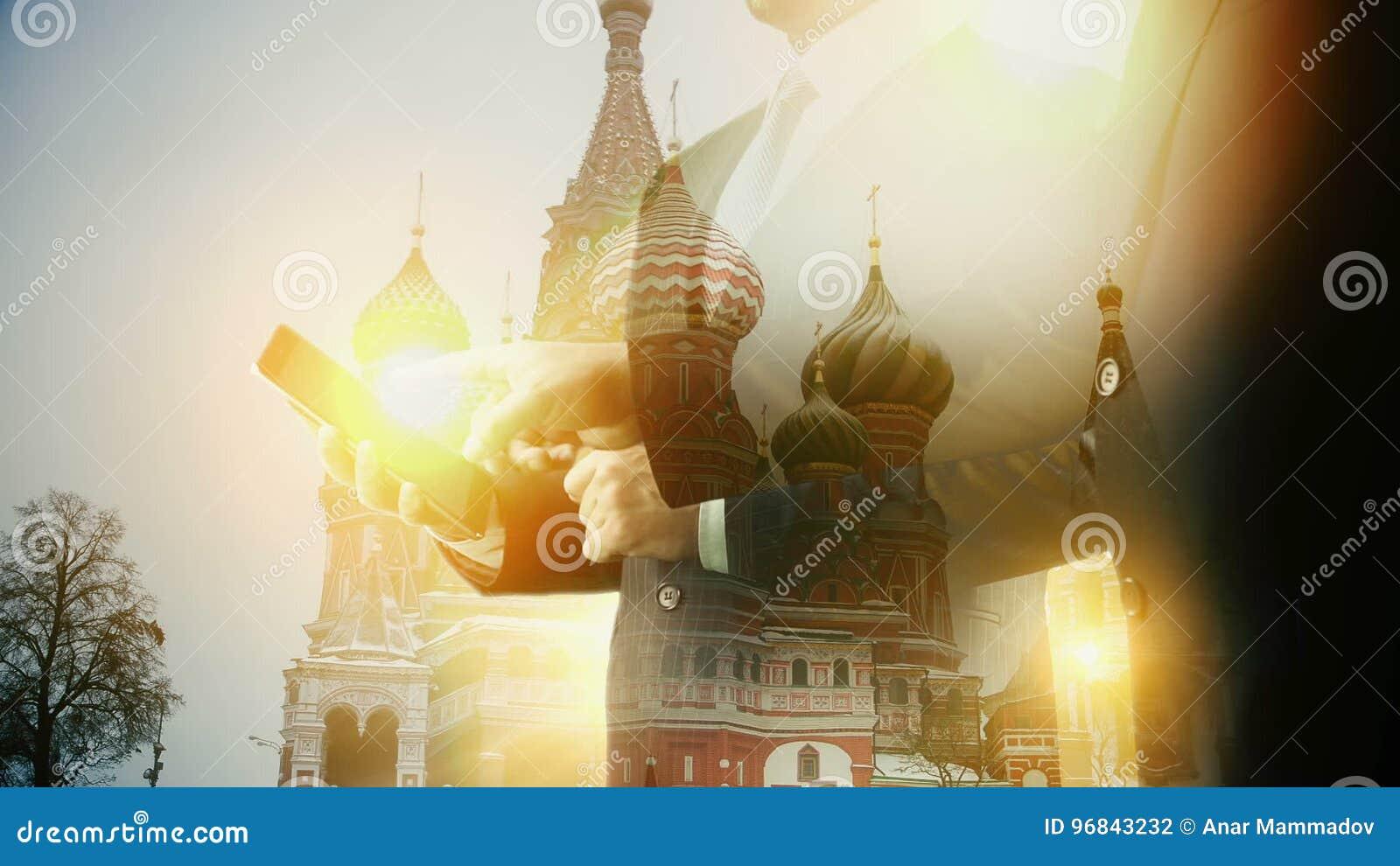 Moscow Kremlin Cityscape Businessman Using Digital Tablet Double