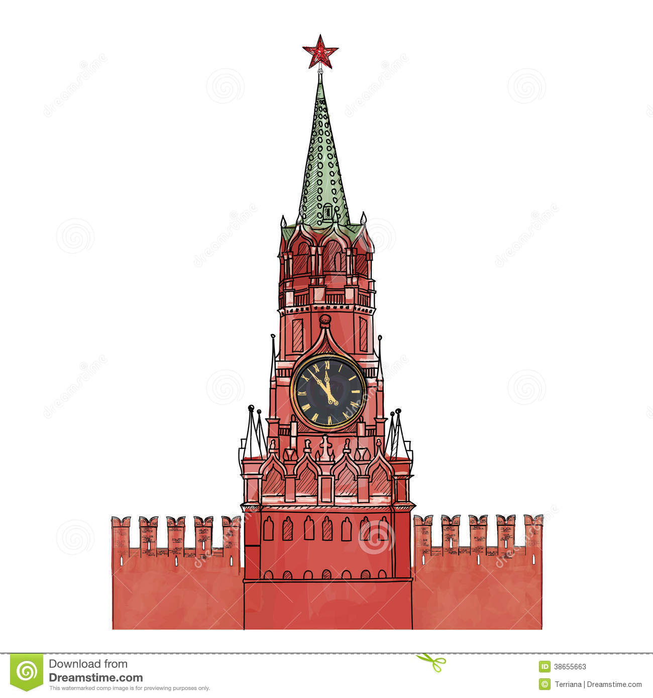 Moscow Kremlin Clock Tower Isolated Stock Vector Image