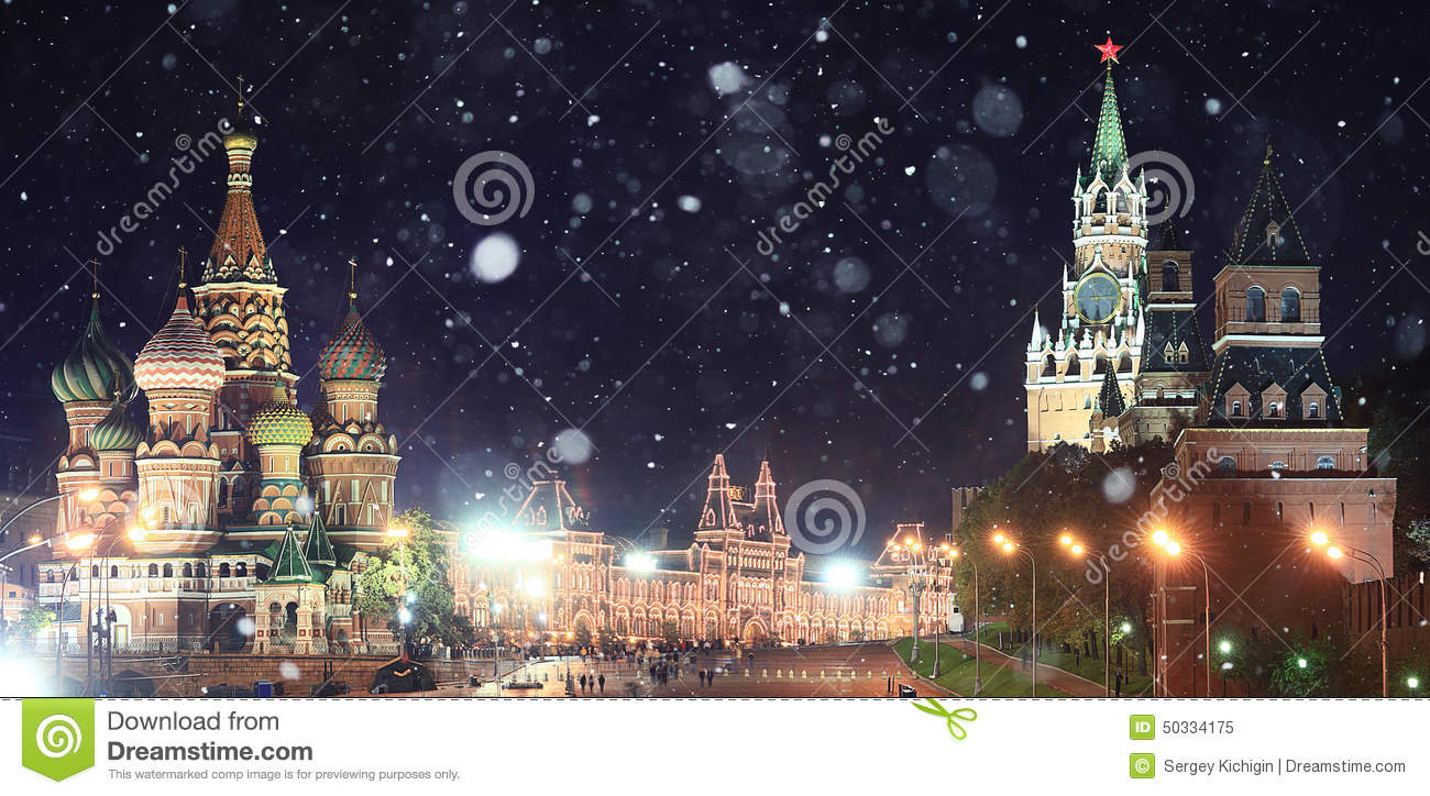 Moscow Kremlin Russian first snow landscape