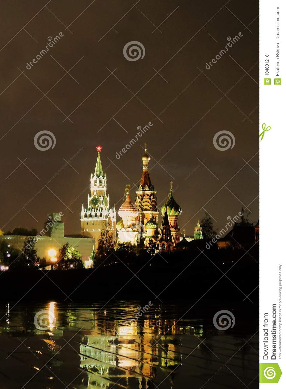 Moscow Kremlin and Saint Basils Cathedral at night.