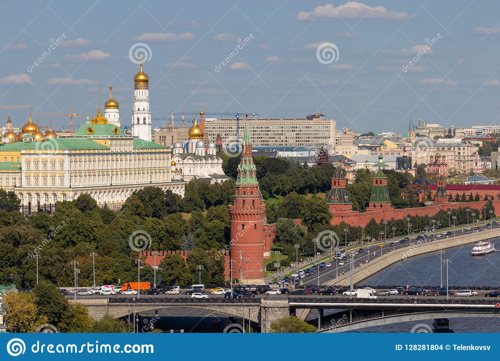 Moscow Kremlin with towers. Assumption Cathedral, in the Kremlin. Grand Kremlin Palace.