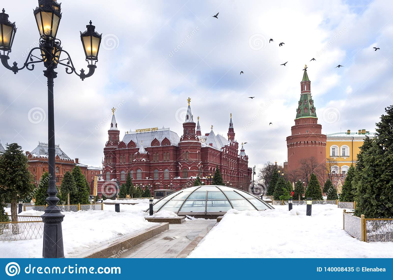 Moscow, Kremlin towers, historical Museum building, birds in the sky over red square, winter, Moscow Kremlin view