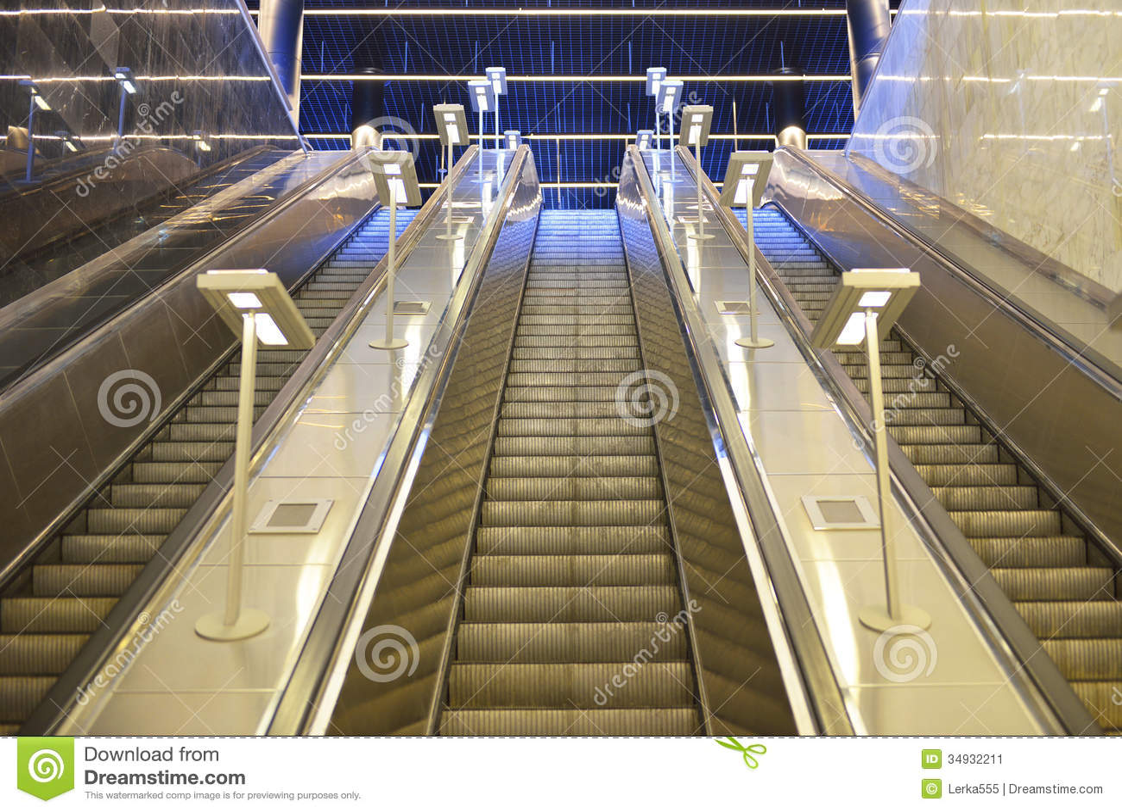 Moscow Metro Escalator Stock Image Image Of Futuristic