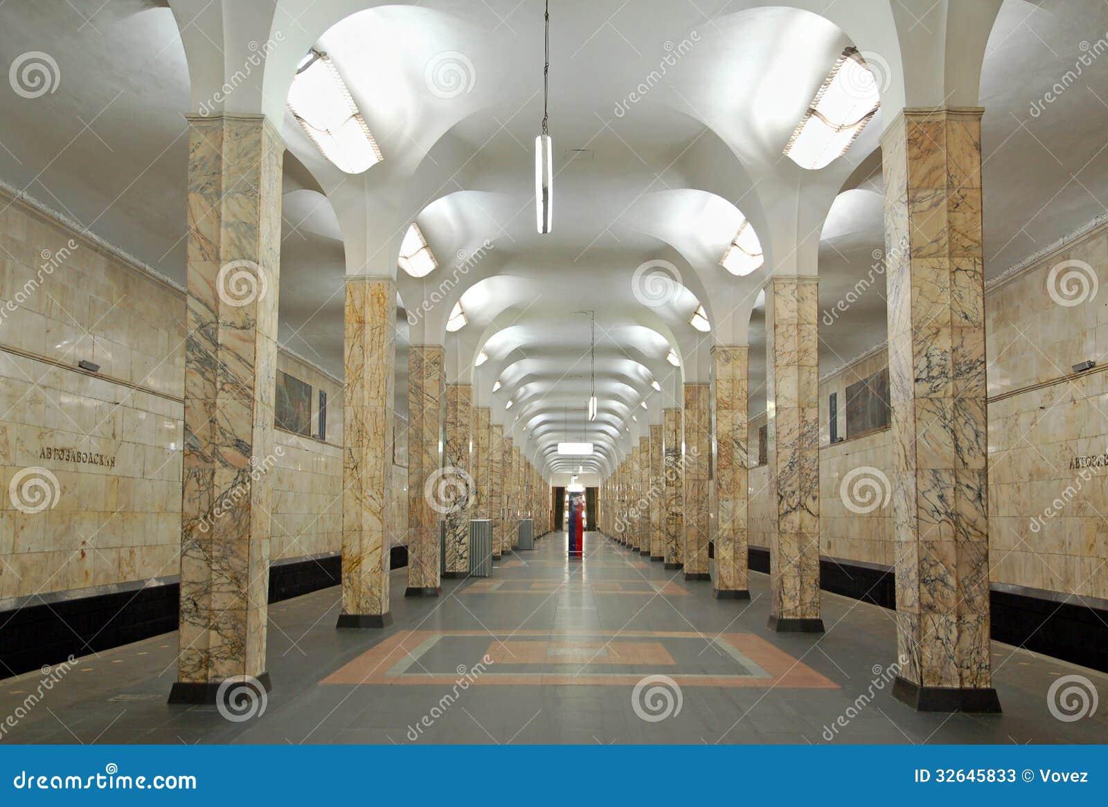 moscow metro interior of station avtozavodskaya stock photos image 32645833. Black Bedroom Furniture Sets. Home Design Ideas