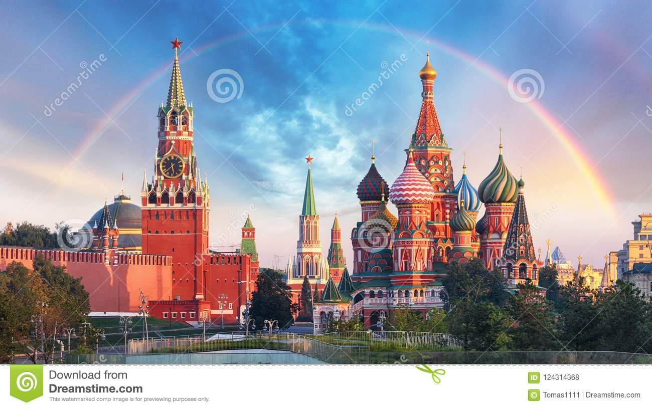 Moscow - Panoramic view of the Red Square with Moscow Kremlin an