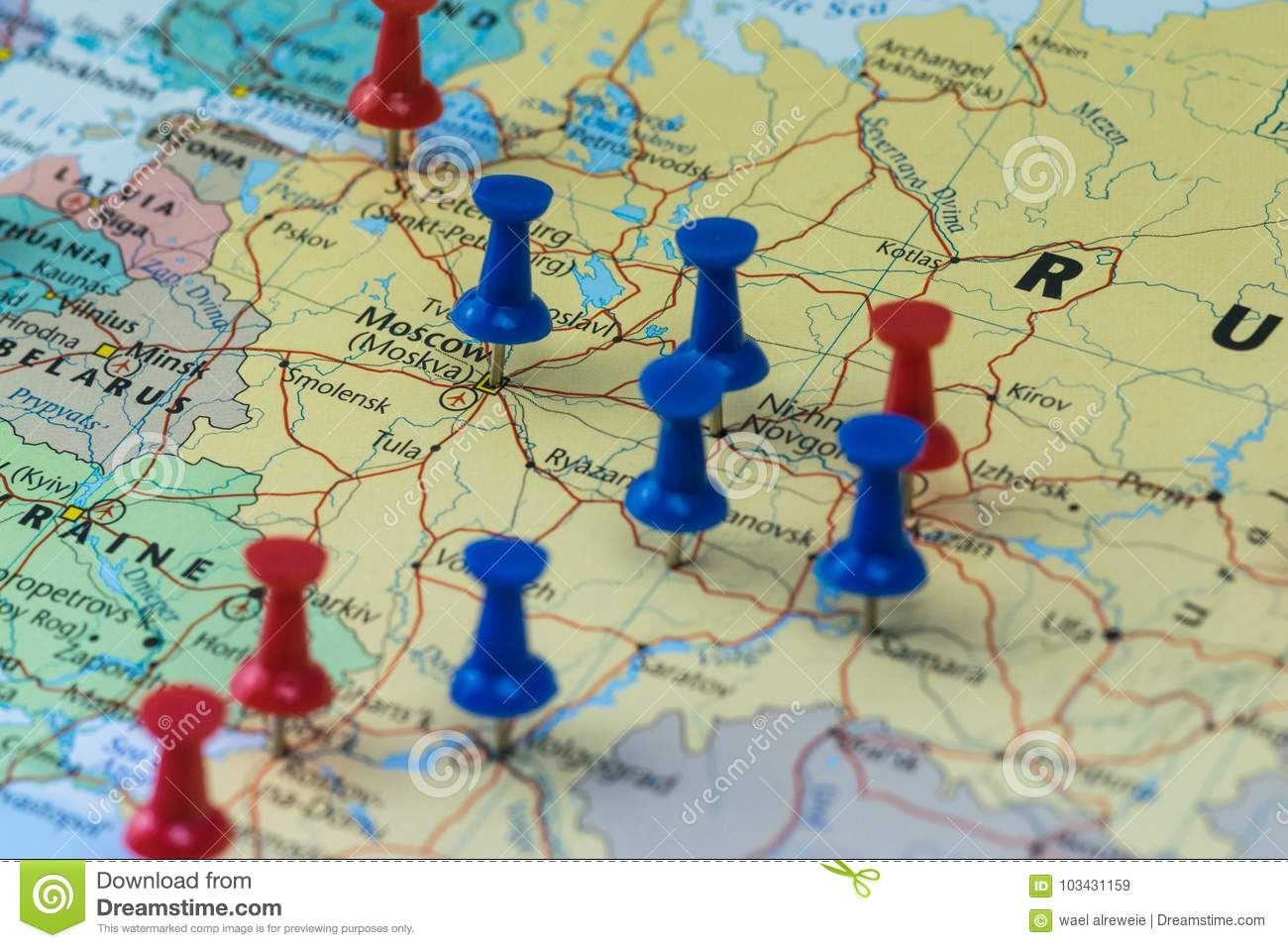 Moscow Pinned with other world cup venue cities in a closeup map for football world cup 2018 in Russia