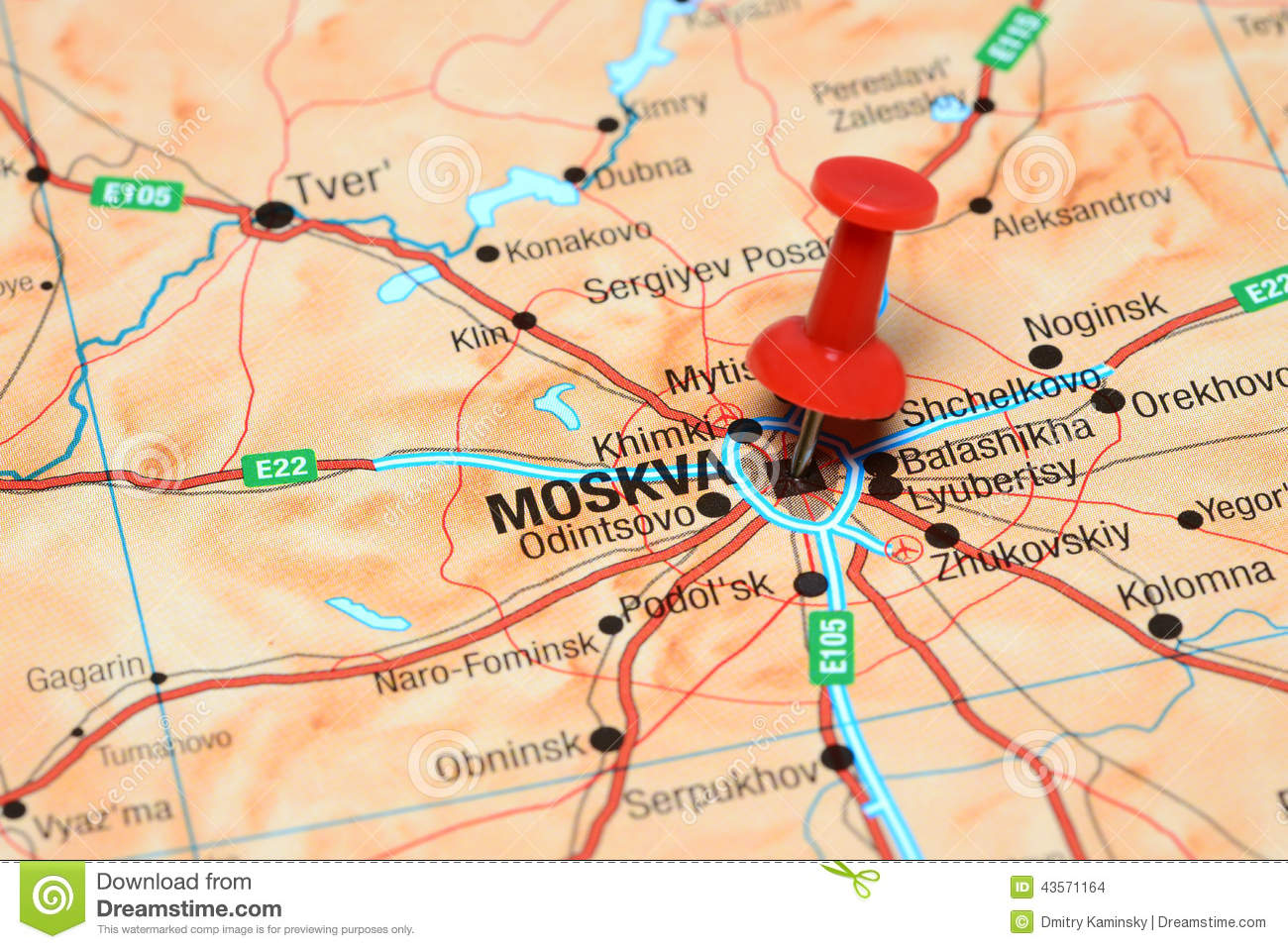 Moscow Pinned On A Map Of Europe Stock Photo Image Of Blue Push