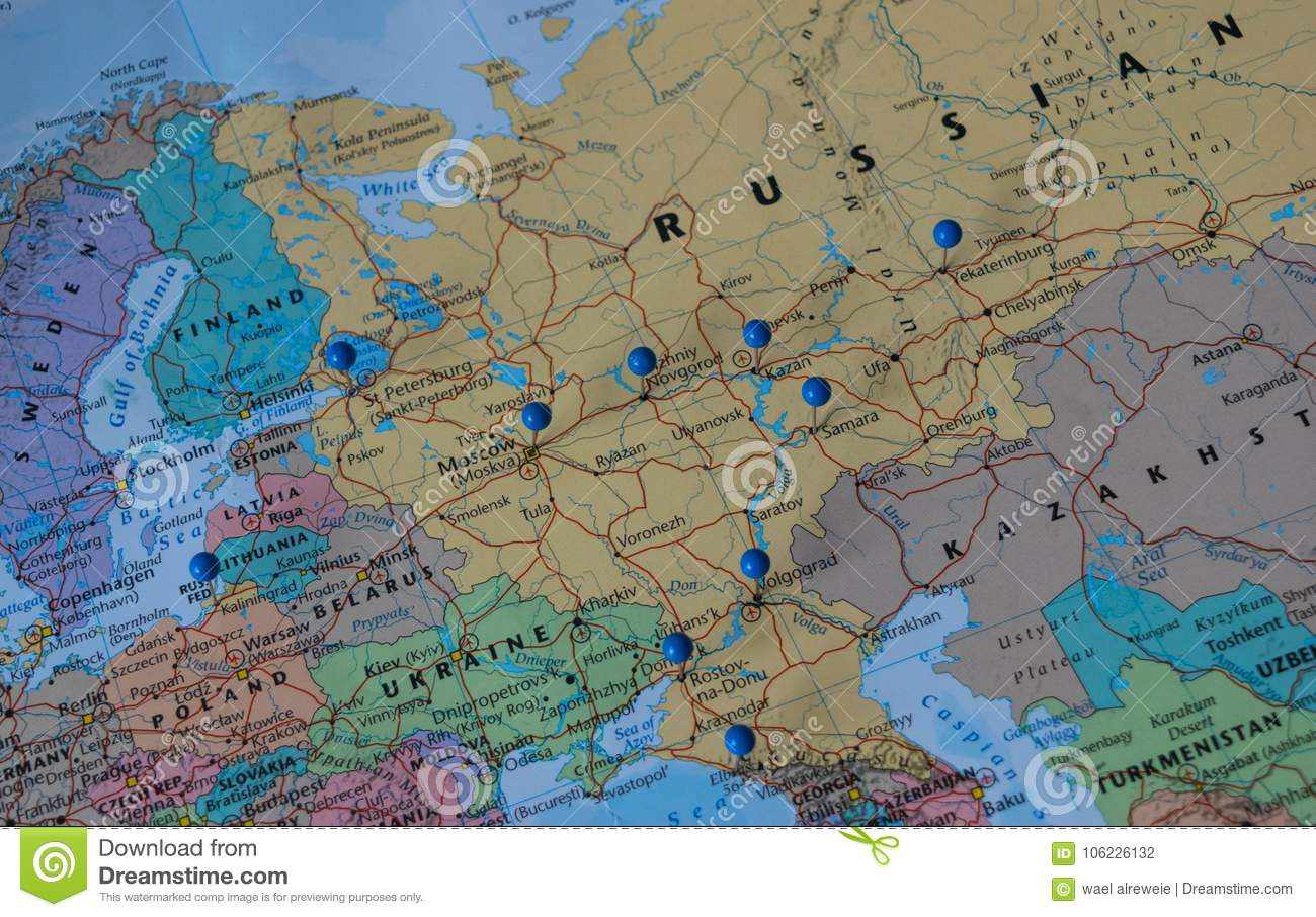 Moscow Pinned With Other World Cup Venue Cities In A Closeup Map For