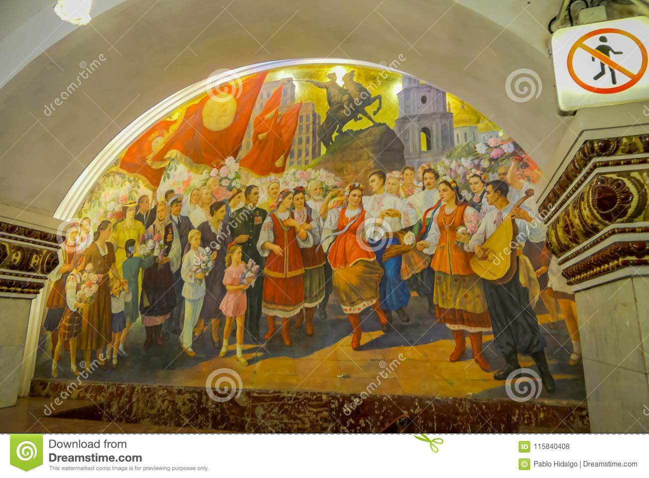 MOSCOW, RUSSIA- APRIL, 29, 2018: Beautiful indoor view of mosaic art in the wall at Kievskaya Metro Station, in Moscow