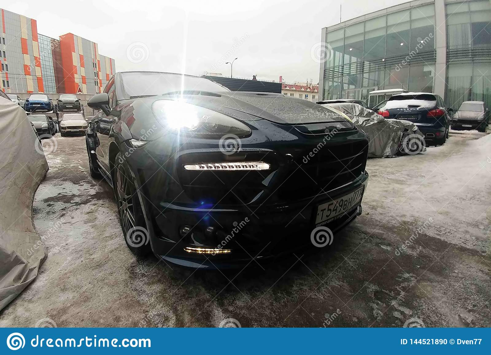 Moscow Russia April 01 2019 Black Porsche Cayenne Turbo Tuned By Wide Body Modified Hood And Headlights Premium Suv Parked Editorial Image Image Of Editorial Engineering 144521890